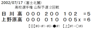 第2試合、上野原高校6対5日川高校