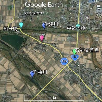 滑津川と千曲川の合流地点