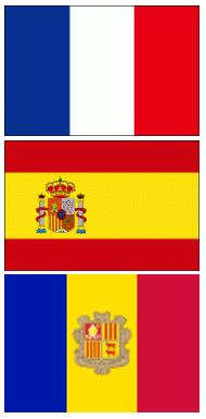 フランス、スペイン、アンドラの国旗