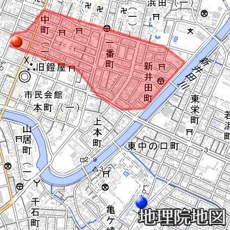 酒田大火の消失地区と測候所