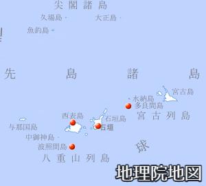 八重山諸島付近