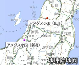 新潟と山形のアメダス小国