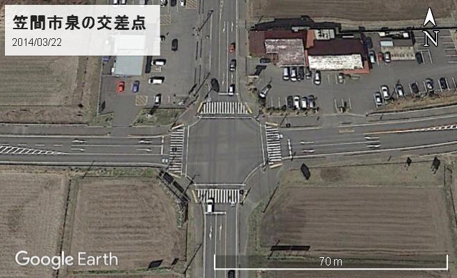 笠間市泉の交差点