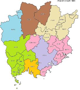 岡山県の保健所の管轄地域