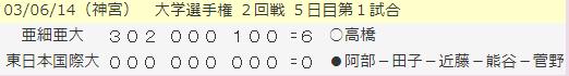 2003年大学選手権2回線、亜大対東日本国際大