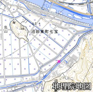 天井川の決壊地点