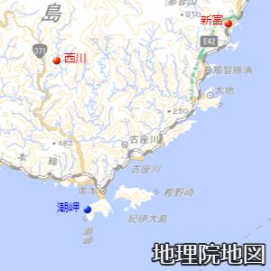 潮岬の周囲の観測所